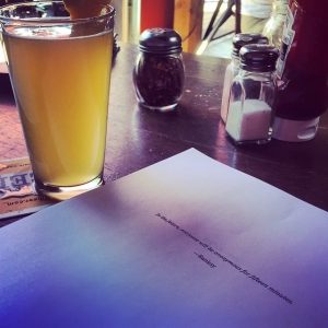 This is how I read through the first draft of The Iron Harvest. With a beer at The Hub.